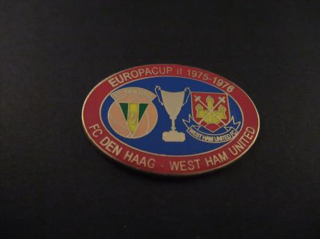 Fc Den Haag -West Ham United 1975-1976 Europacup II voetbal rode rand